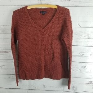 American Eagle Ribbed Sweater Rust Red Small